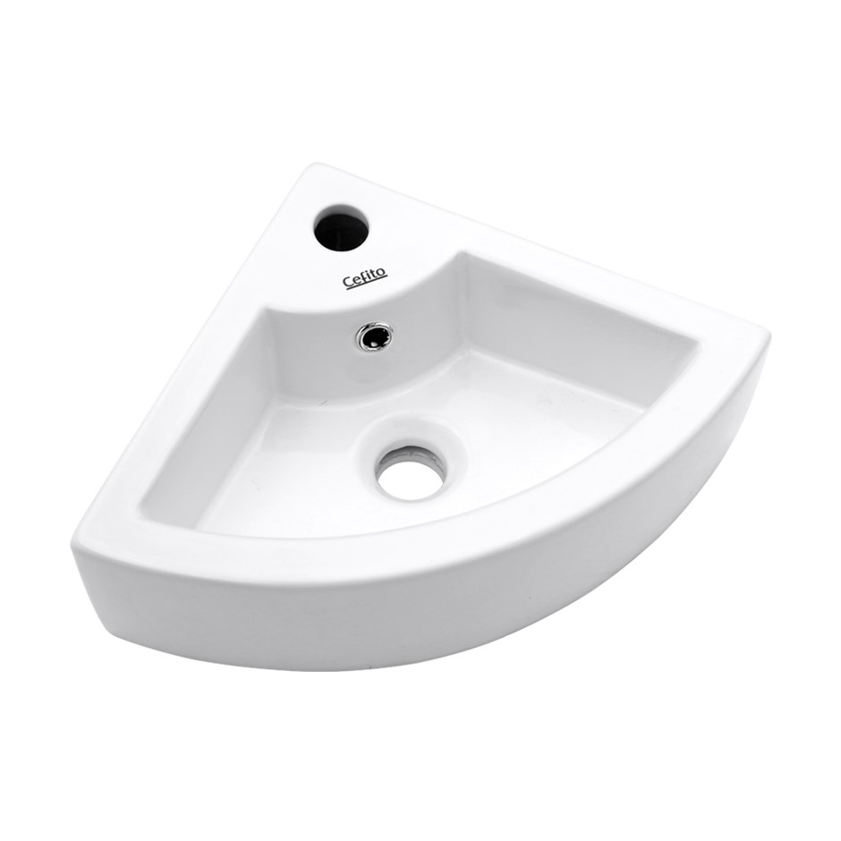 Cefito Ceramic Bathroom Corner Basin - White