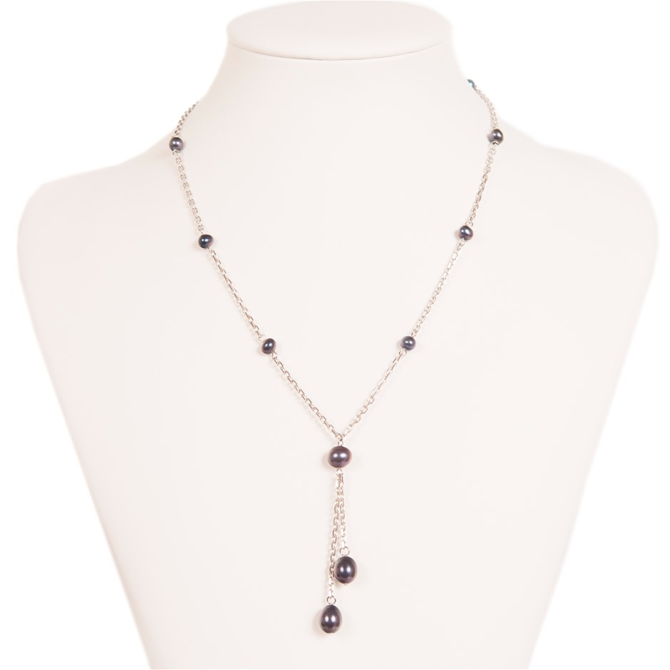 Sterling Silver And Natural Black Freshwater Pearl Necklace