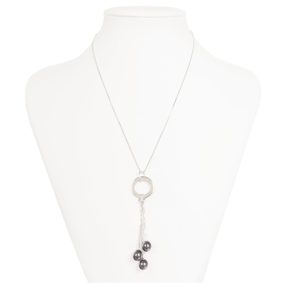 Sterling Silver And Black Freshwater Pearl Necklace