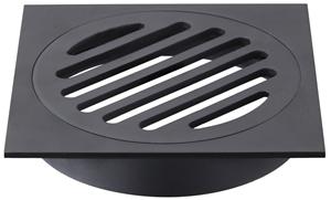 Square Black Floor Grate Drain 110 mm Fu