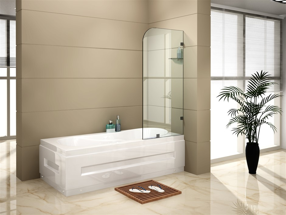 700 x 1450mm Frameless Bath Panel 10mm Glass Shower Screen