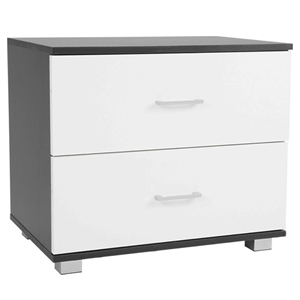 Bedside Table with Drawers MDF - Black W