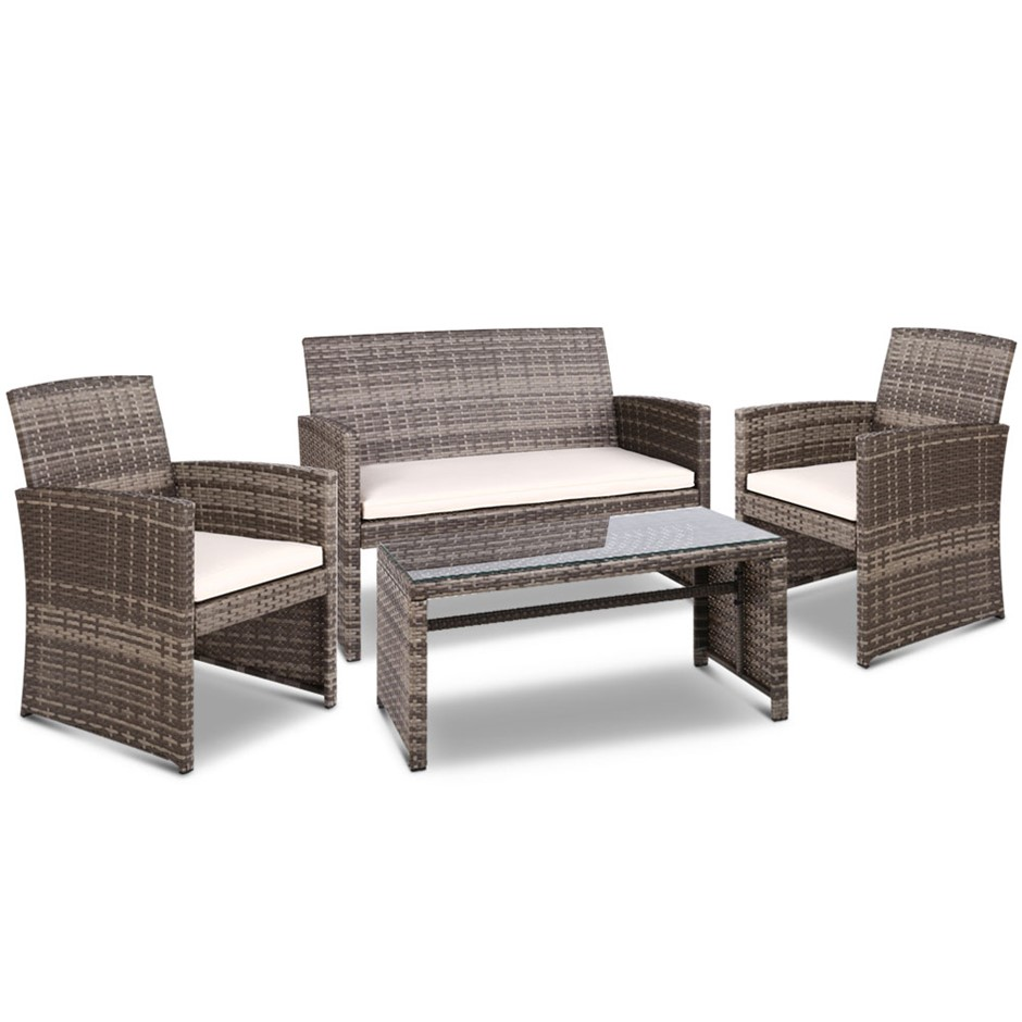 Gardeon Garden Furniture Outdoor Lounge Setting Wicker Sofa Set Patio Grey