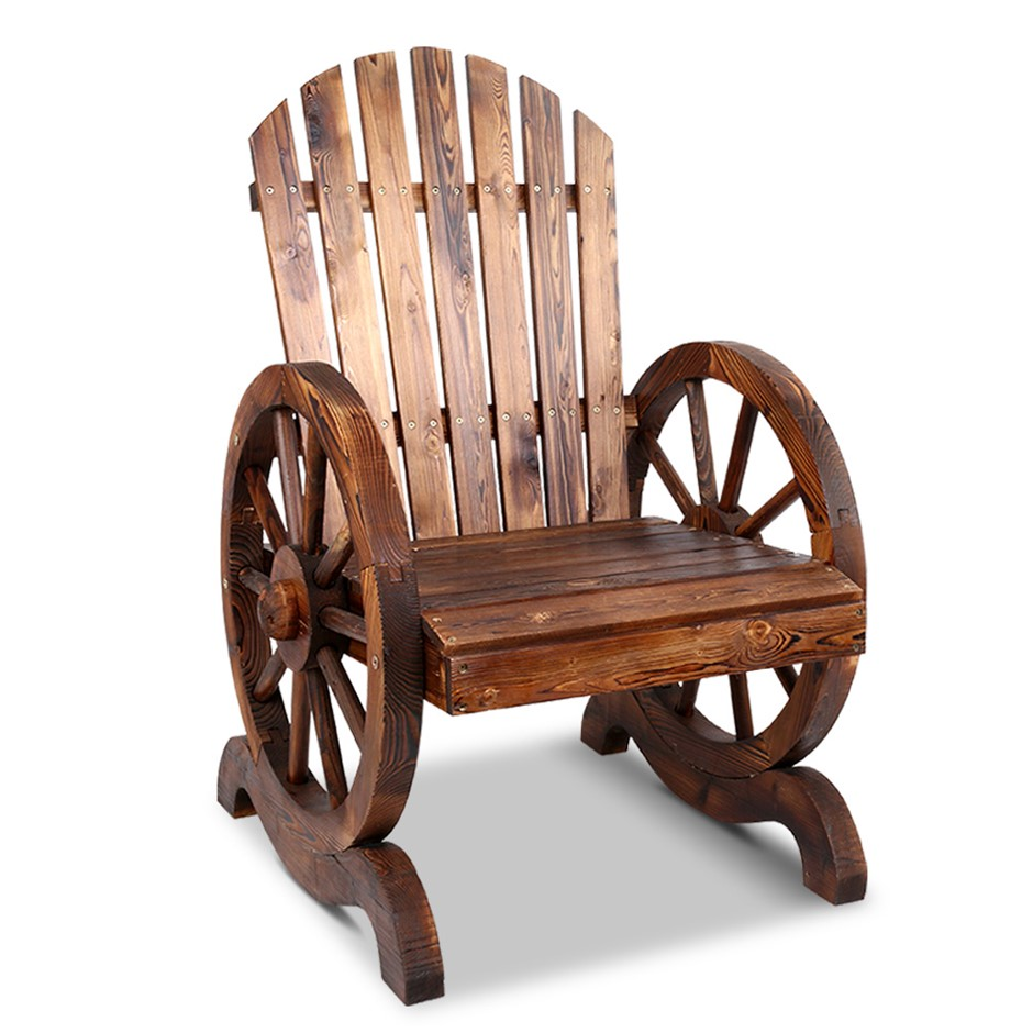 Gardeon Wagon Wheels Single Chair - Brown