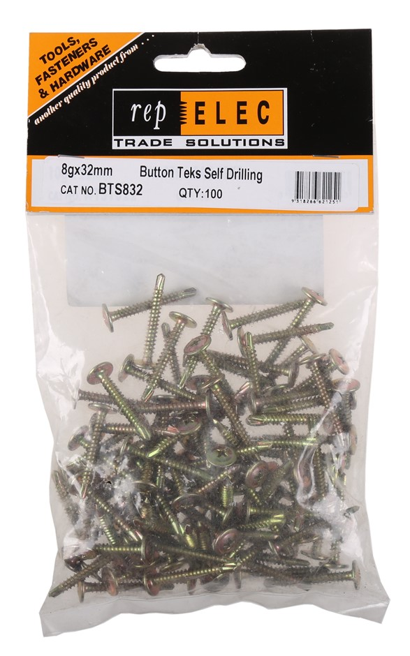 10 Packs of 100 x Button Teks Self Drilling Screws 8g x 32mm Buyers Note -