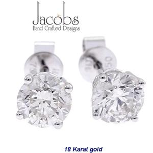 18ct White Gold 1 01ct Diamond Stud Ear