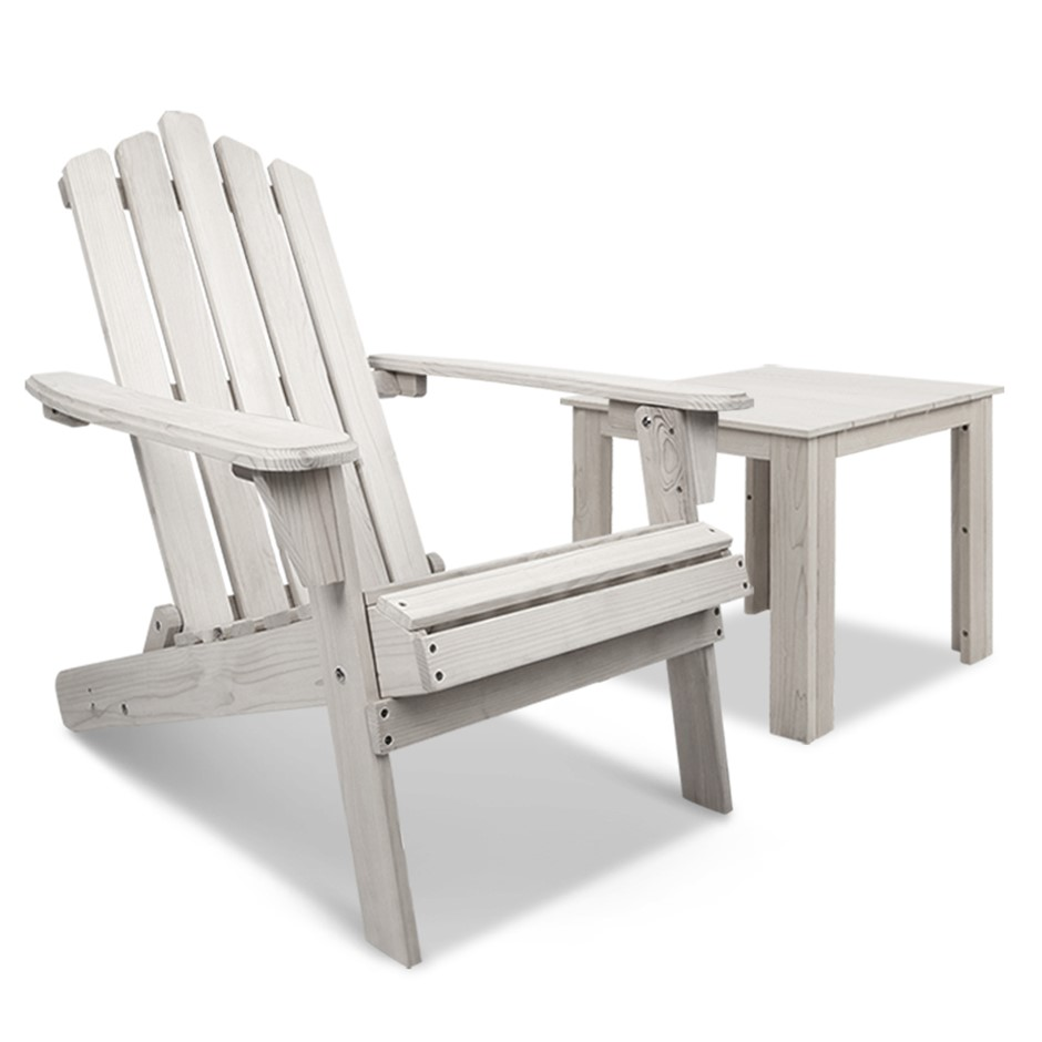 Gardeon Outdoor Adirondack Lounge Chair and Side Table - White