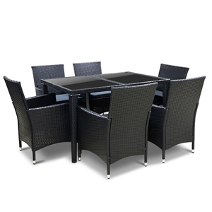 Gardeon 7 Piece Outdoor Dining Set - Bla