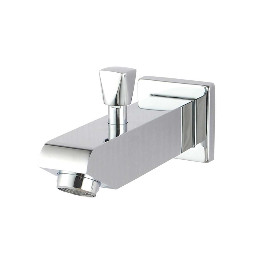 Square Chrome Wall Basin Outlet with Diverter and Handheld Shower