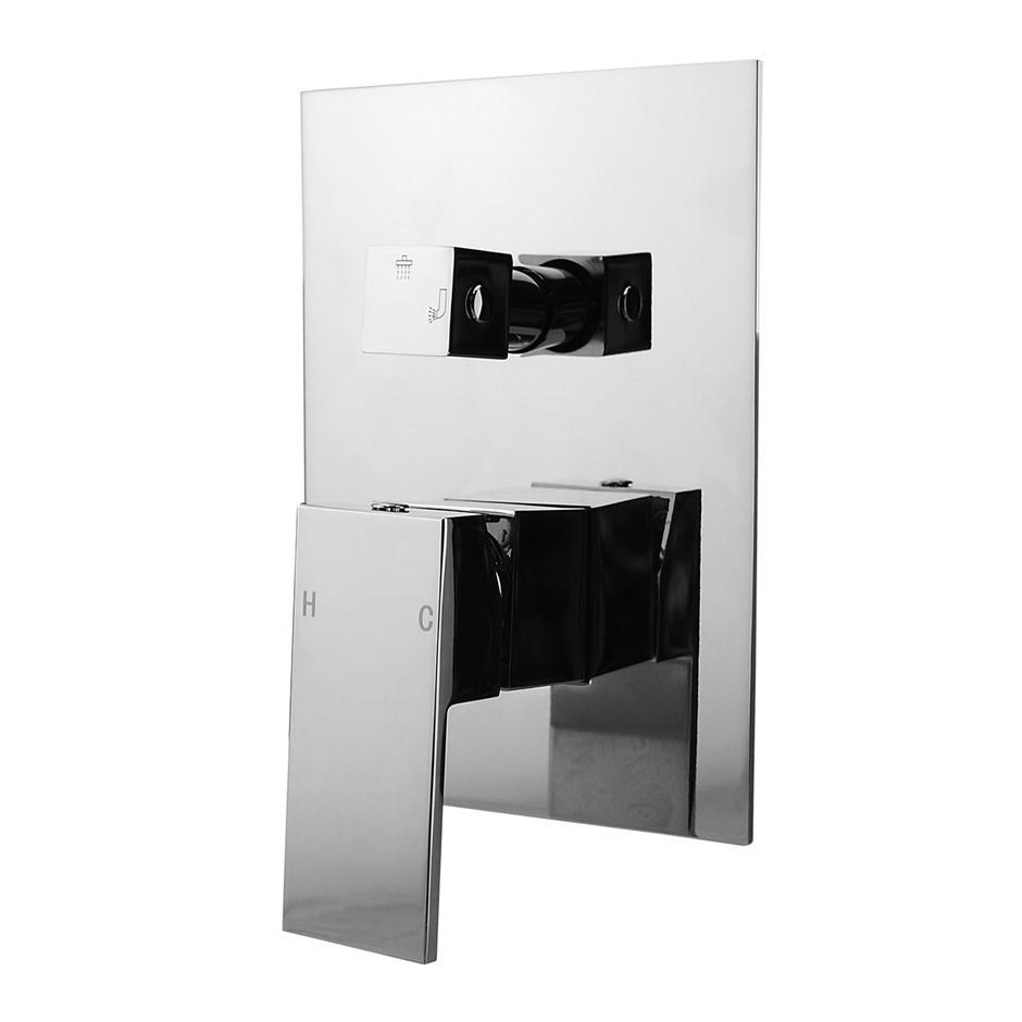 Square Chrome Shower/Bath Spout Mixer Tap With Diverter(Brass)