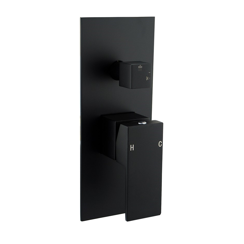 Square Black Shower/Bath Spout Mixer Tap With Diverter Flat cover plate