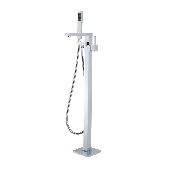 Square Chrome Floor Standing Mixer With Diverter & Handheld Shower(Brass)