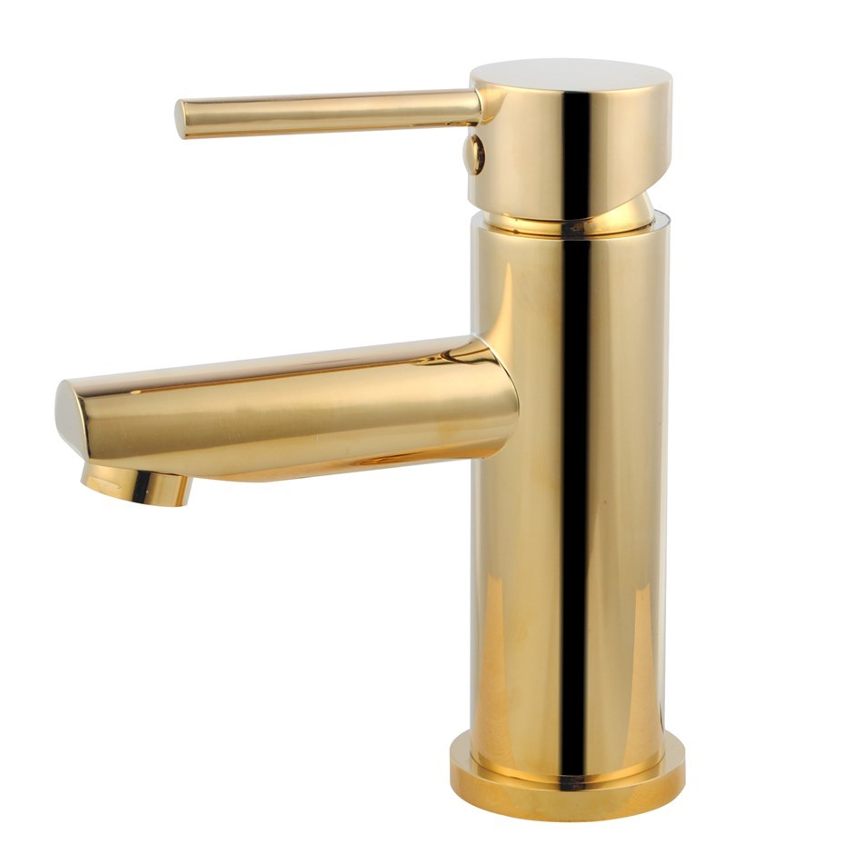 Round Yellow Gold Basin Mixer Tap Brass Faucet Watermark and WELS Approved