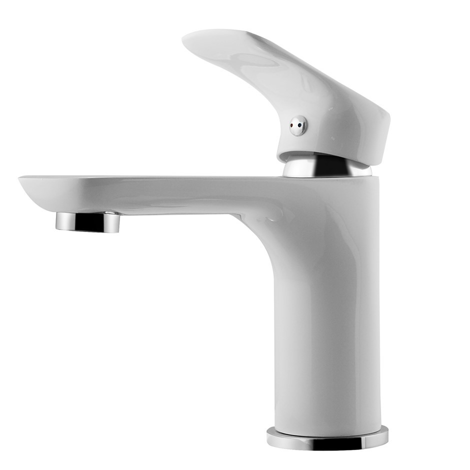 Luxury White&Chrome Basin Mixer Tap Brass Faucet 4L/M Water Saving
