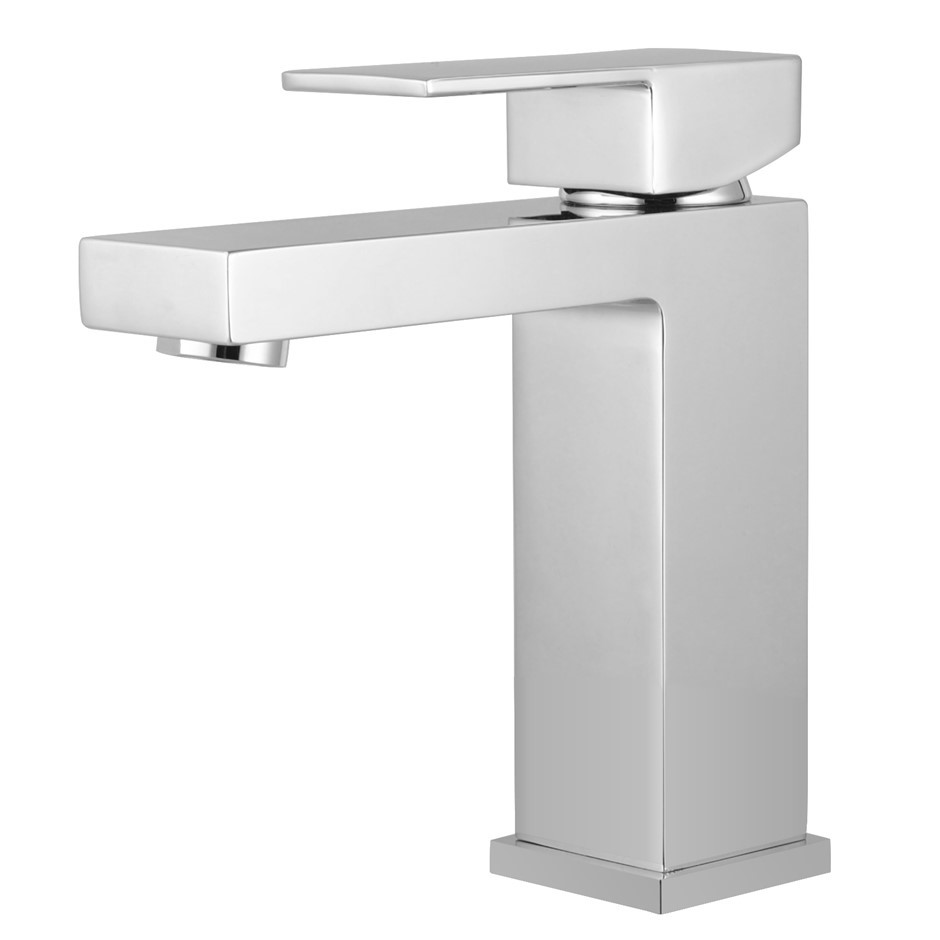 Square Chrome Basin Mixer Tap Brass Faucet Watermark and WELS Approved