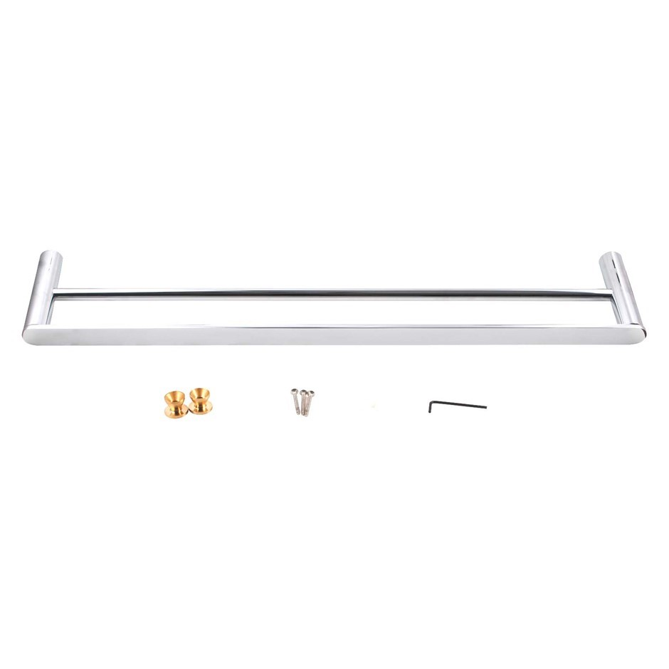 Round Chrome 304 Stainless Steel Double Towel Rail Rack Bar 600mm