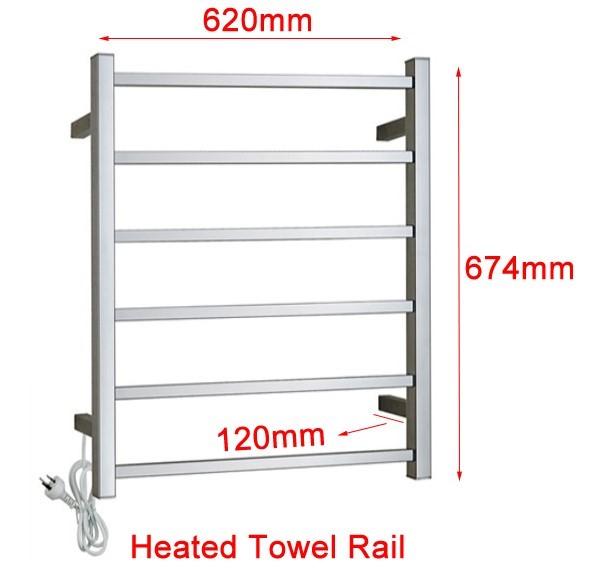 Electric Square Chrome Heated Towel Rack Rail 6 Bar Warmer Stainless Steel