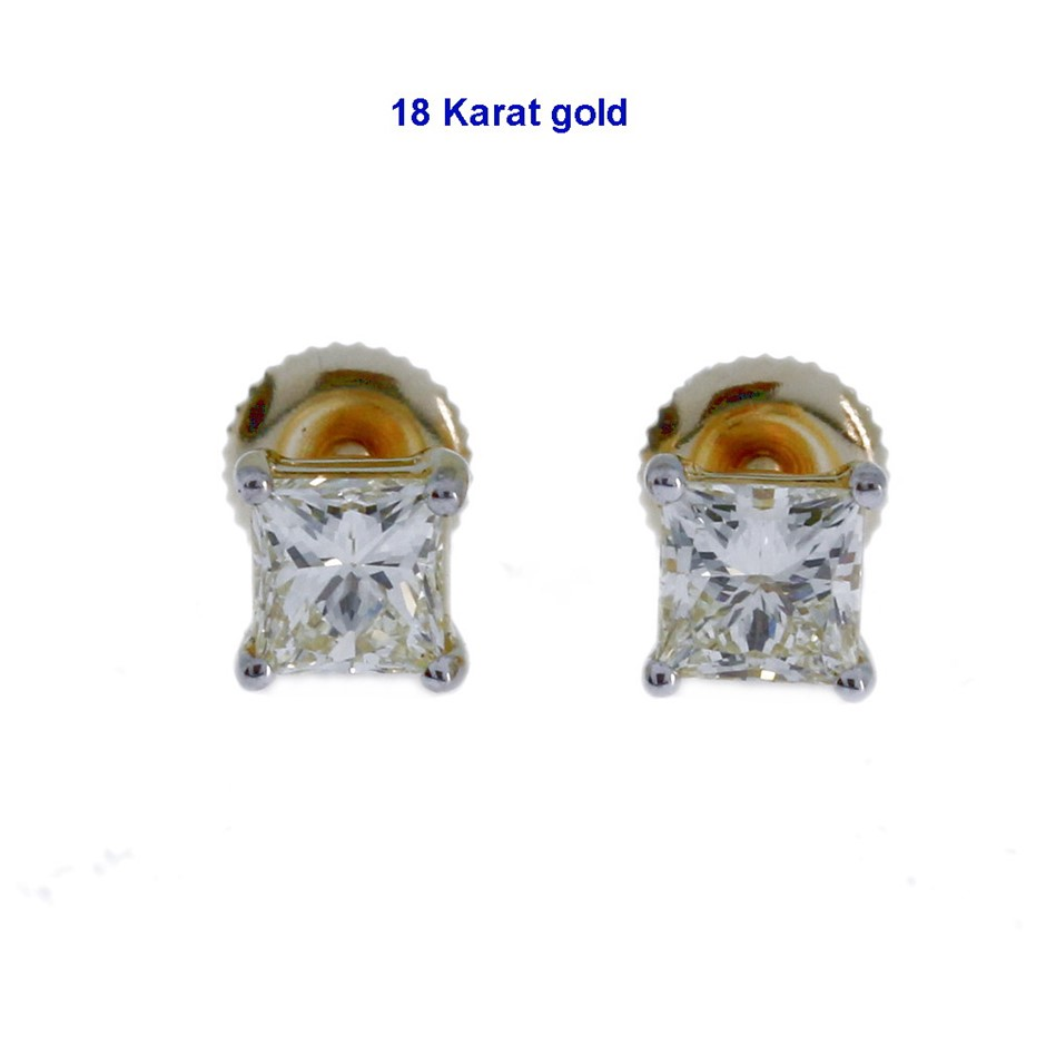 18ct Yellow Gold 1 41ct Diamond Stud Earrings