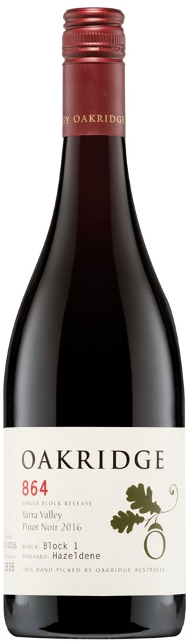 Oakridge 864 Pinot Noir 2016 (6 x 750mL), Yarra Valley, VIC.