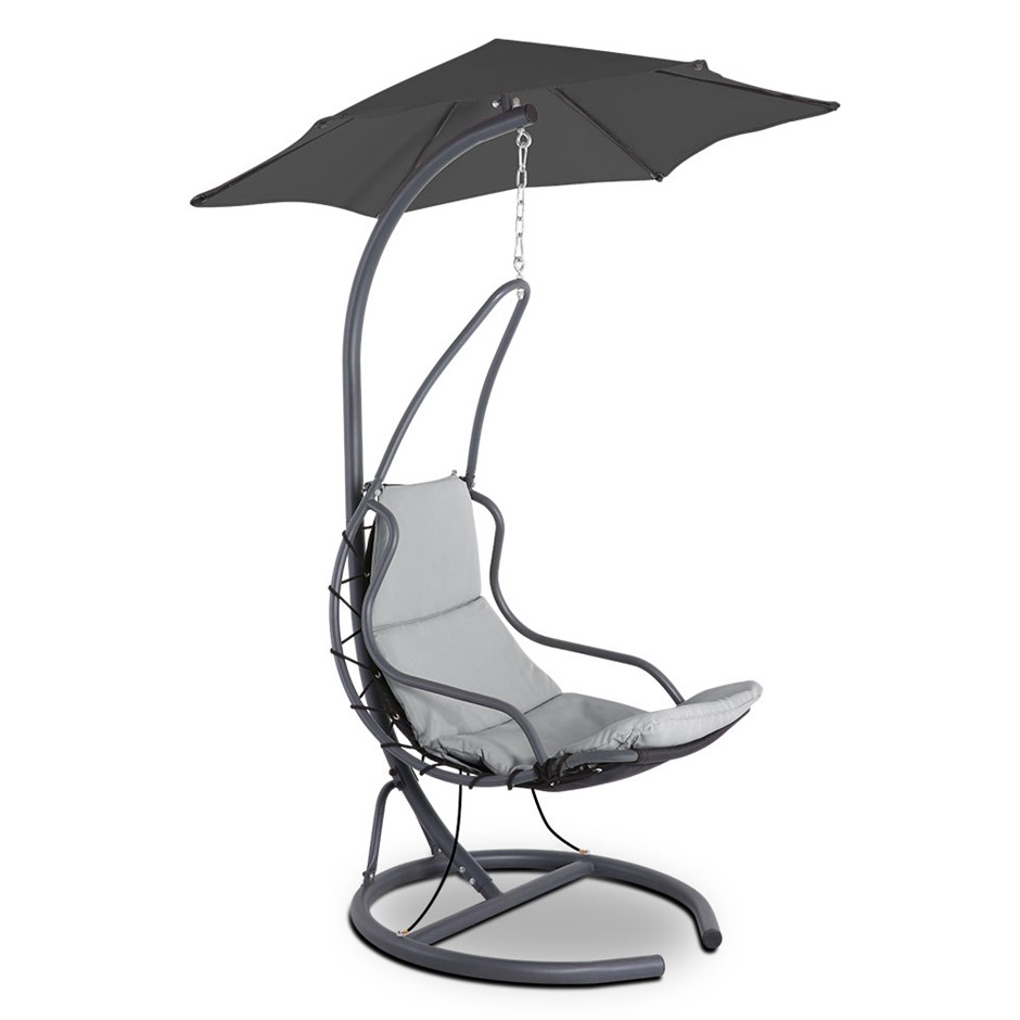 Gardeon Hanging Chair with Umbrella Grey