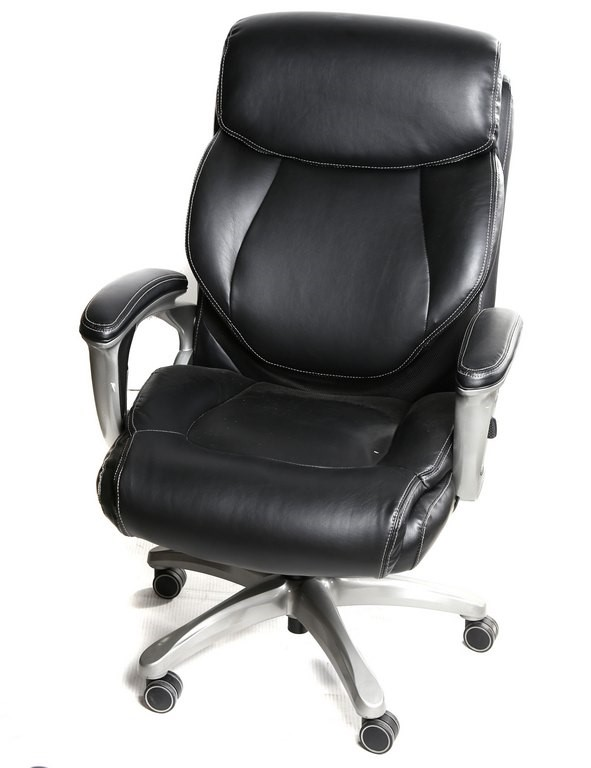 TRUE WELLNESS Mobile Executive Arm Chair, Fully Adjustable, Black PU Leathe