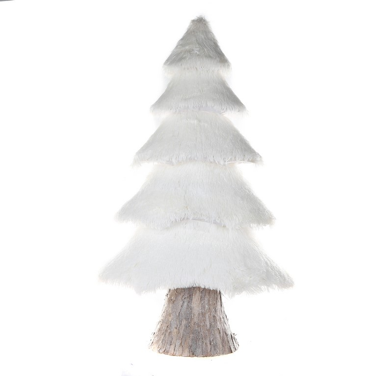 8 x FLORABELLE Snow Layered Fur Trees, with Wooden Bark Base, 115cm White.