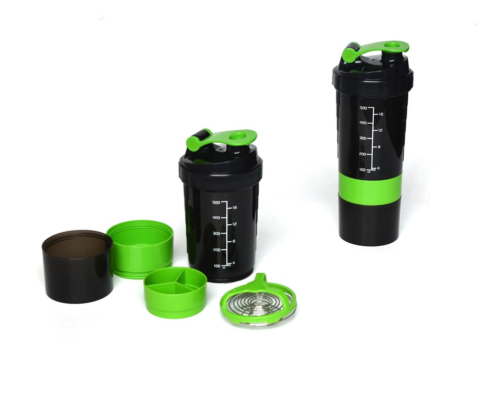 2x Protein Gym Shaker 3 in 1 Smart Style Blender Mixer Cup Bottle Spider