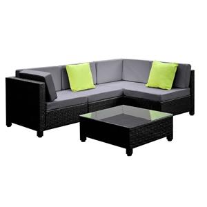 Gardeon 5 Piece Pe Wicker Outdoor Sofa Black Grey