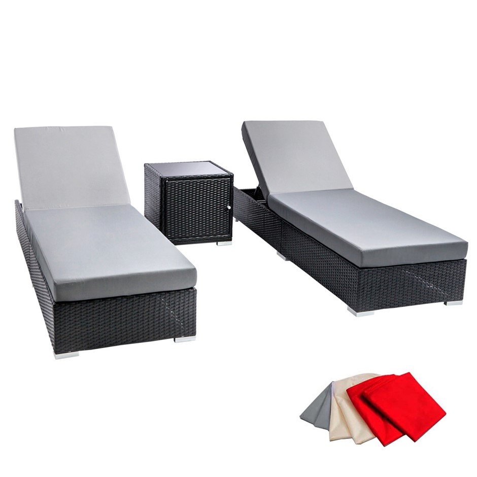 Gardeon 3 Piece Wicker Outdoor Lounge Set - Black