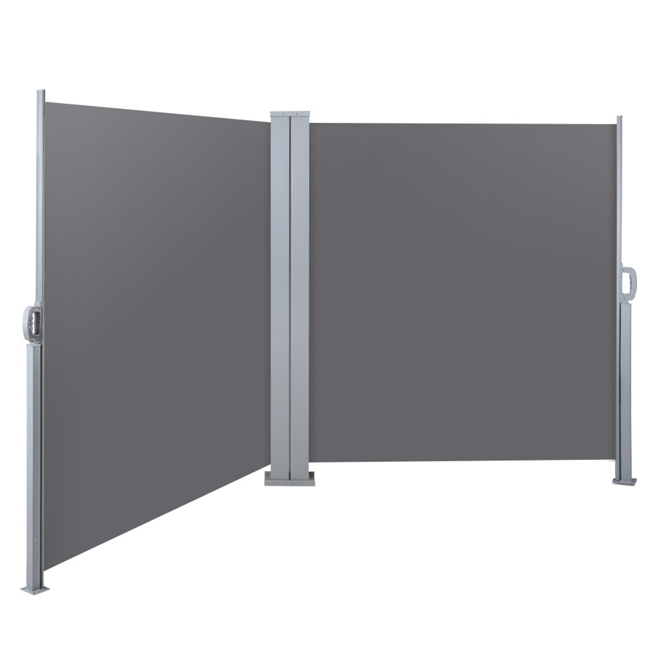 Instahut 1.8MX6M Retractable Double Side Awning Privacy Screen Shade Grey