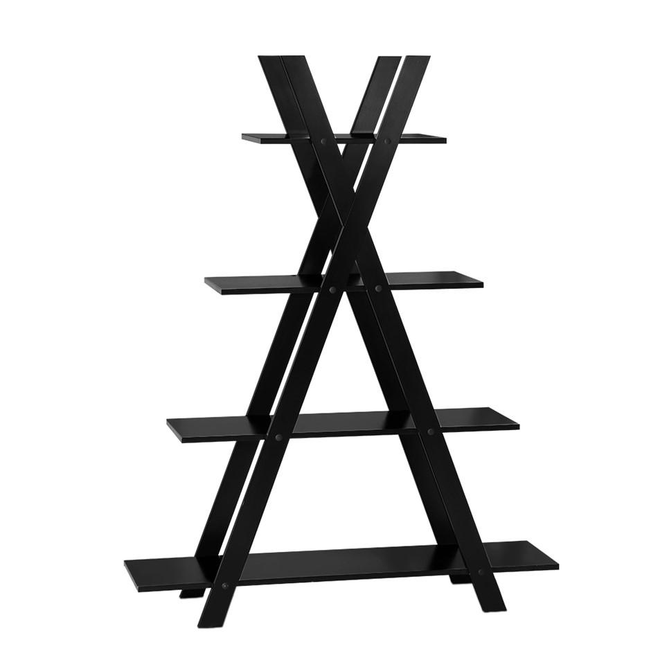 Artiss 4 Tier Wooden Ladder Shelf Stand Storage Book Shelves Black