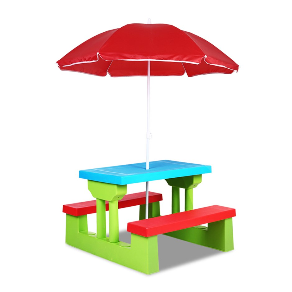 Keezi Kids Picnic Table Bench Set Umbrella Children Craft Activity Blue