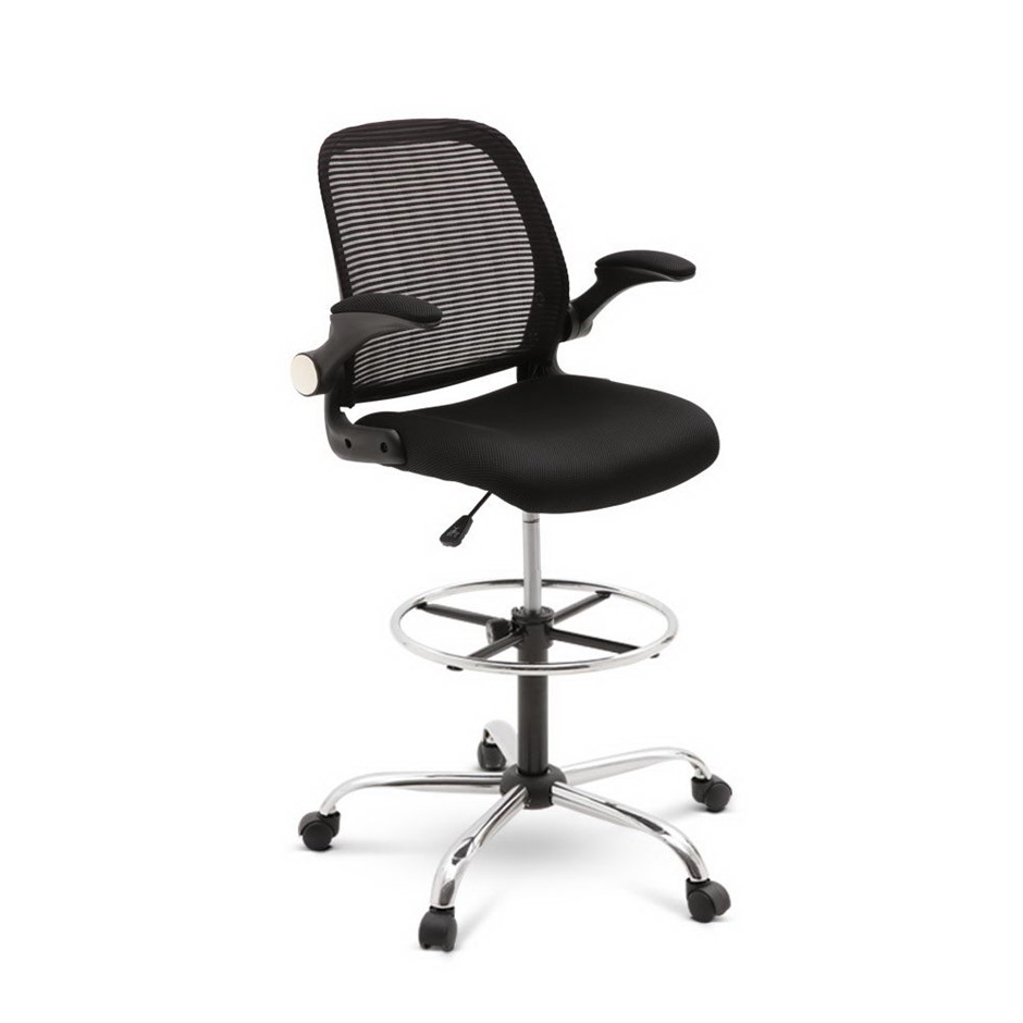 Veer Drafting Stool Office Chair Mesh Adjust Black Standing Desk Table