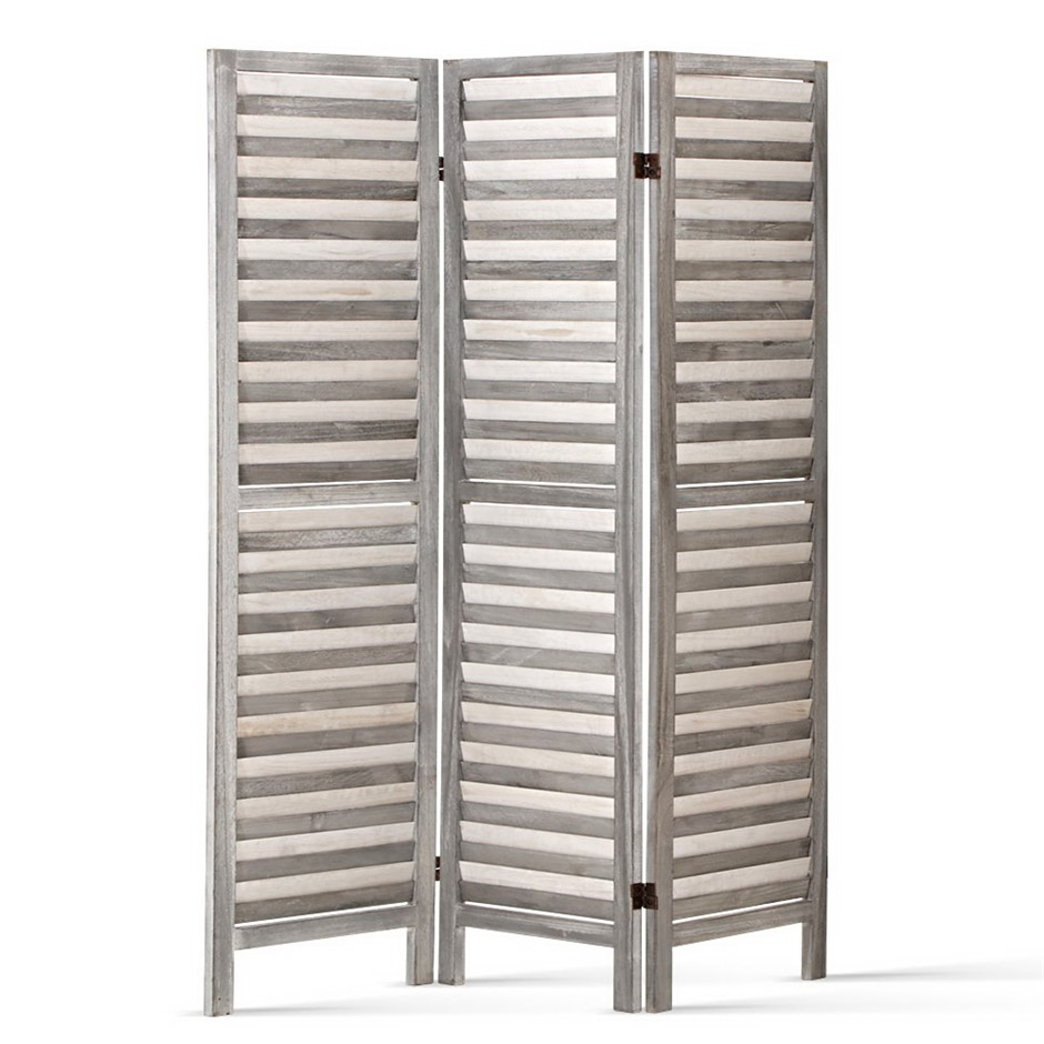 Artiss 3 Panel Room Divider Screen Privacy Wood Timber Stand Grey 170cm