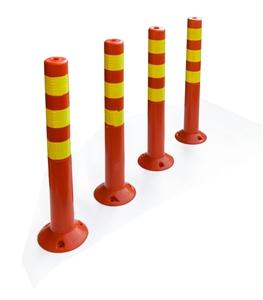 4x Plastic Traffic Bollard Barrier Post