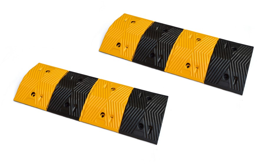 Pair of 1m Long 60T Load Rubber Speed Bump Hump Modular Speed Humps Road
