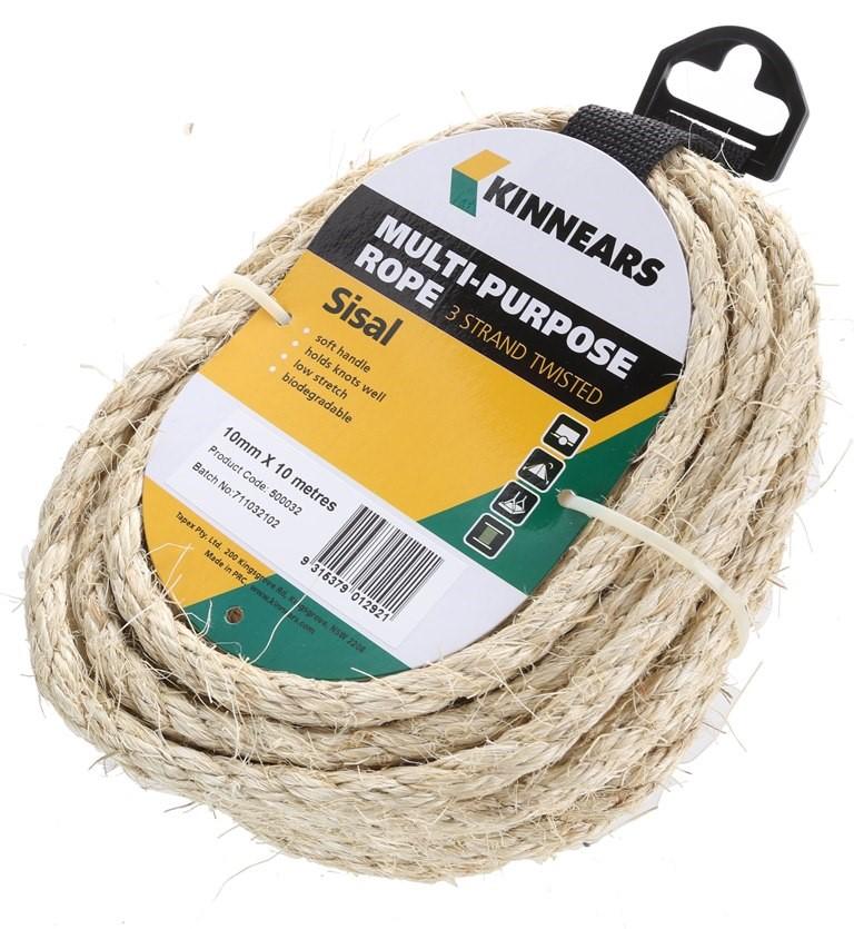 12 Hanks of KINNEARS Multi- Purpose Sisal Rope 10mm x 10M, Strand. Buyers N