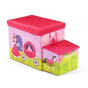 Kids Toy Box Foldable Stool Ottoman Chai