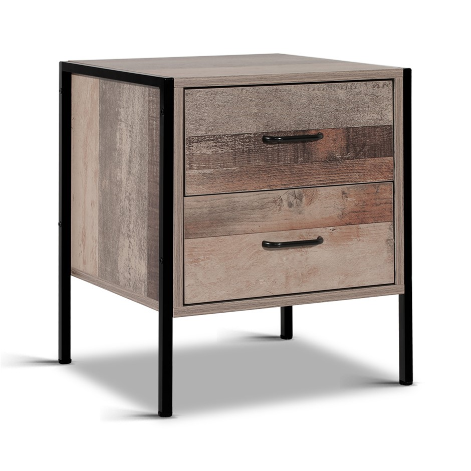 Artiss Bedside Drawer Storage Nightstand Chest Cabinet Lamp Side Oak Metal