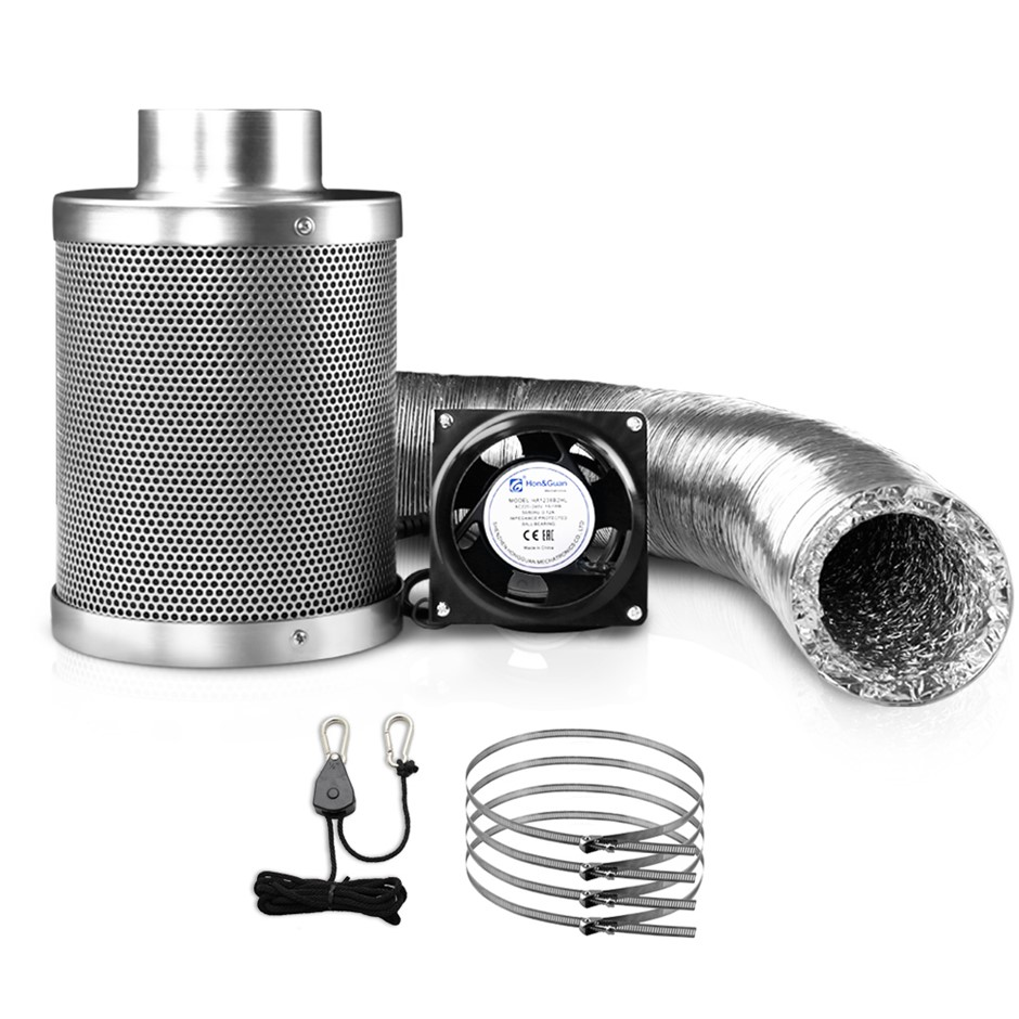 "4"" Hydroponics Grow Tent Ventilation Kit Carbon Filter Duct Ducting"