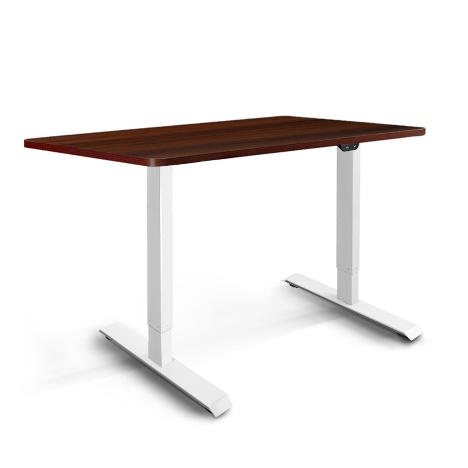 Artiss Motorised Electric Height Adjustable Standing Desk White Walnut