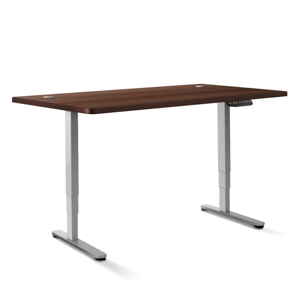 Artiss Height Adjustable Standing Motorised Electric Roskos III Grey Walnut