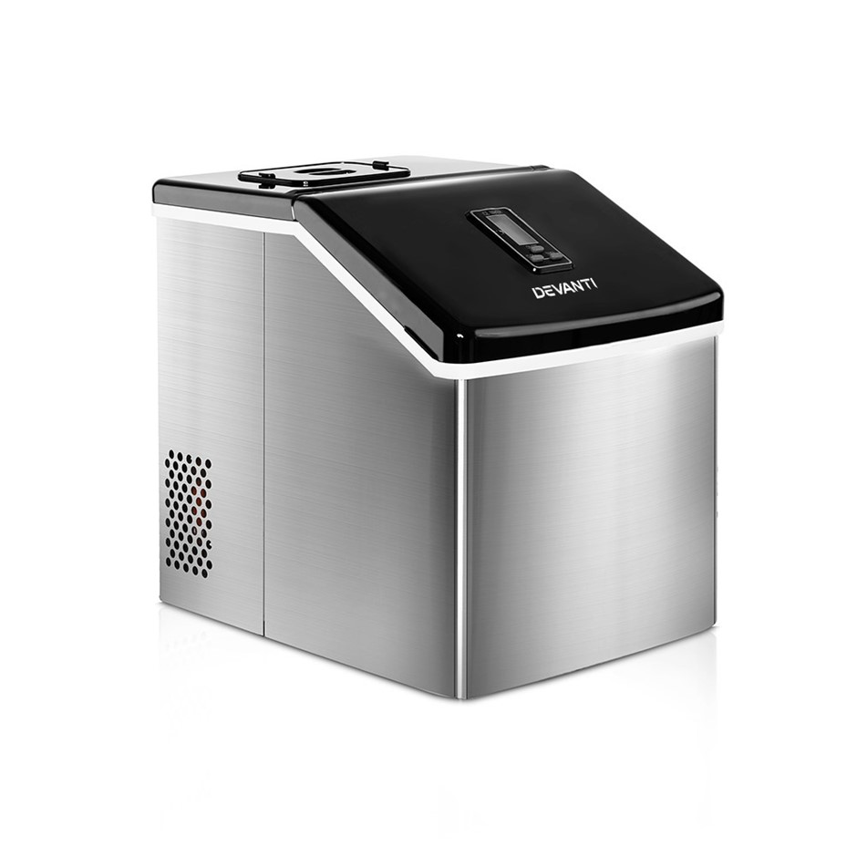 DEVANTi 3.2L Portable Ice Cube Maker Commercial Machine Stainless Steel