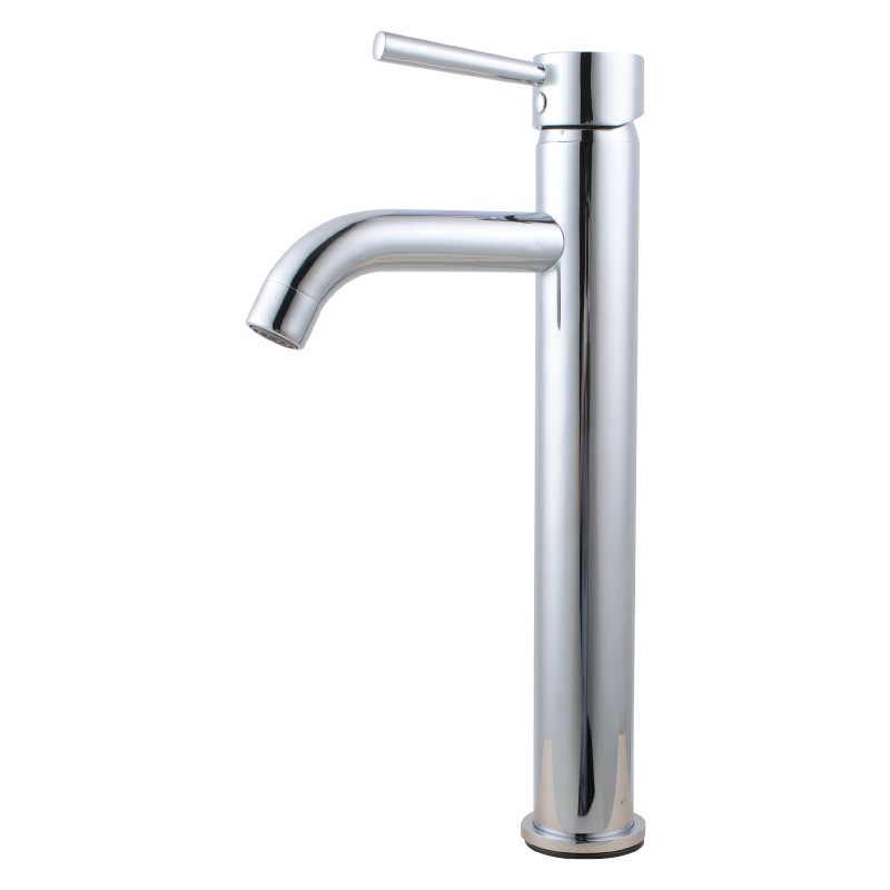 Round Chrome Tall Basin Mixer Tap Crooked Water Spout
