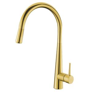 Round Golden Pull Out Kitchen Sink Mixer