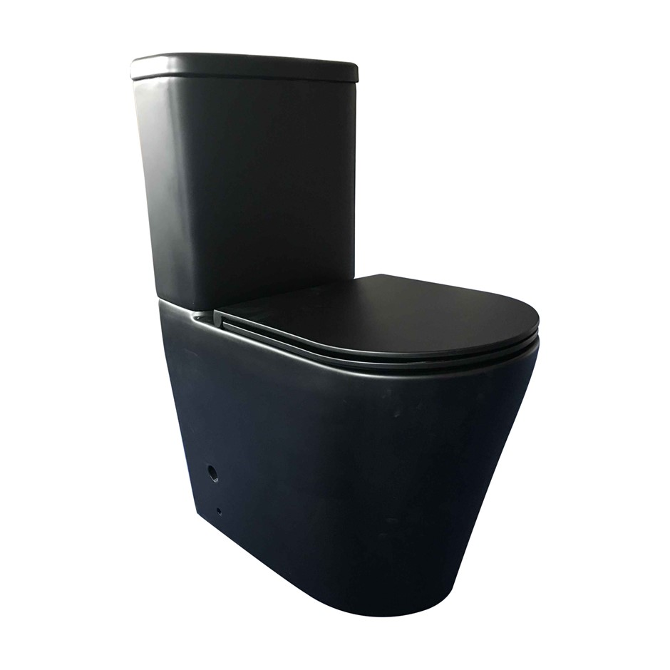 635 x 350 x 870mm Bathroom Rimless Back To Wall Black Ceramic Toilet Suite