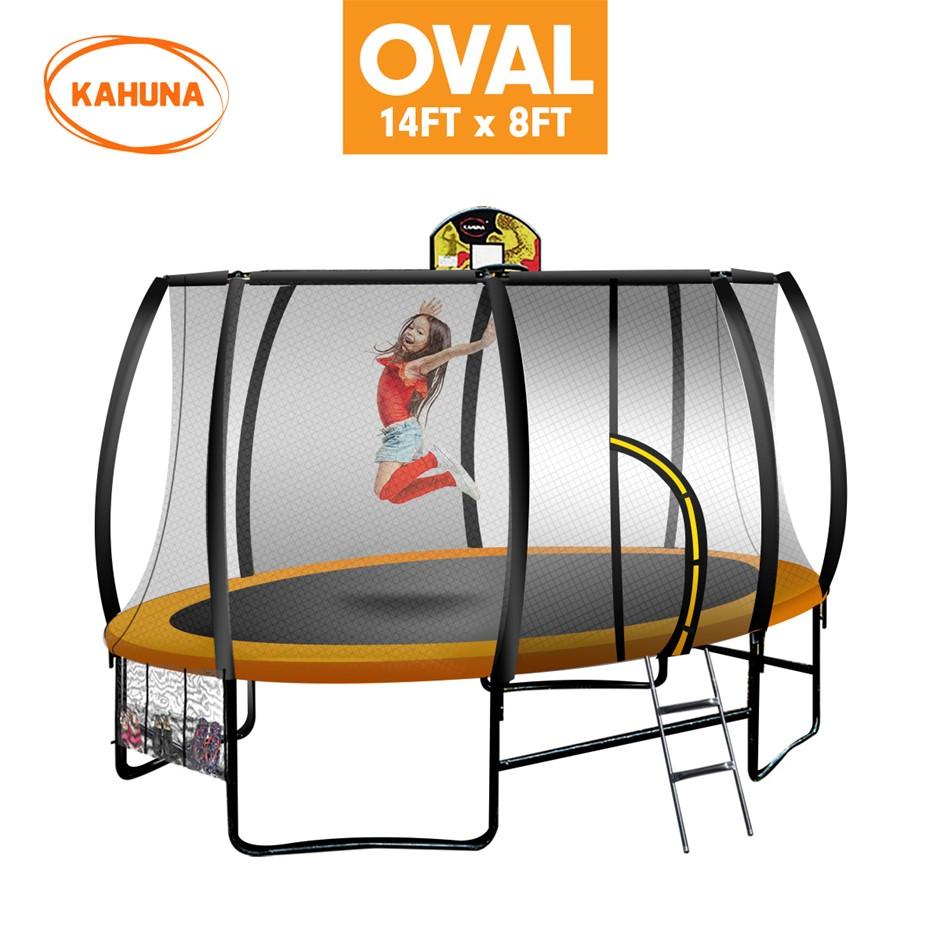 Kahuna Trampoline 8 ft x 14ft Oval Outdoor - Orange