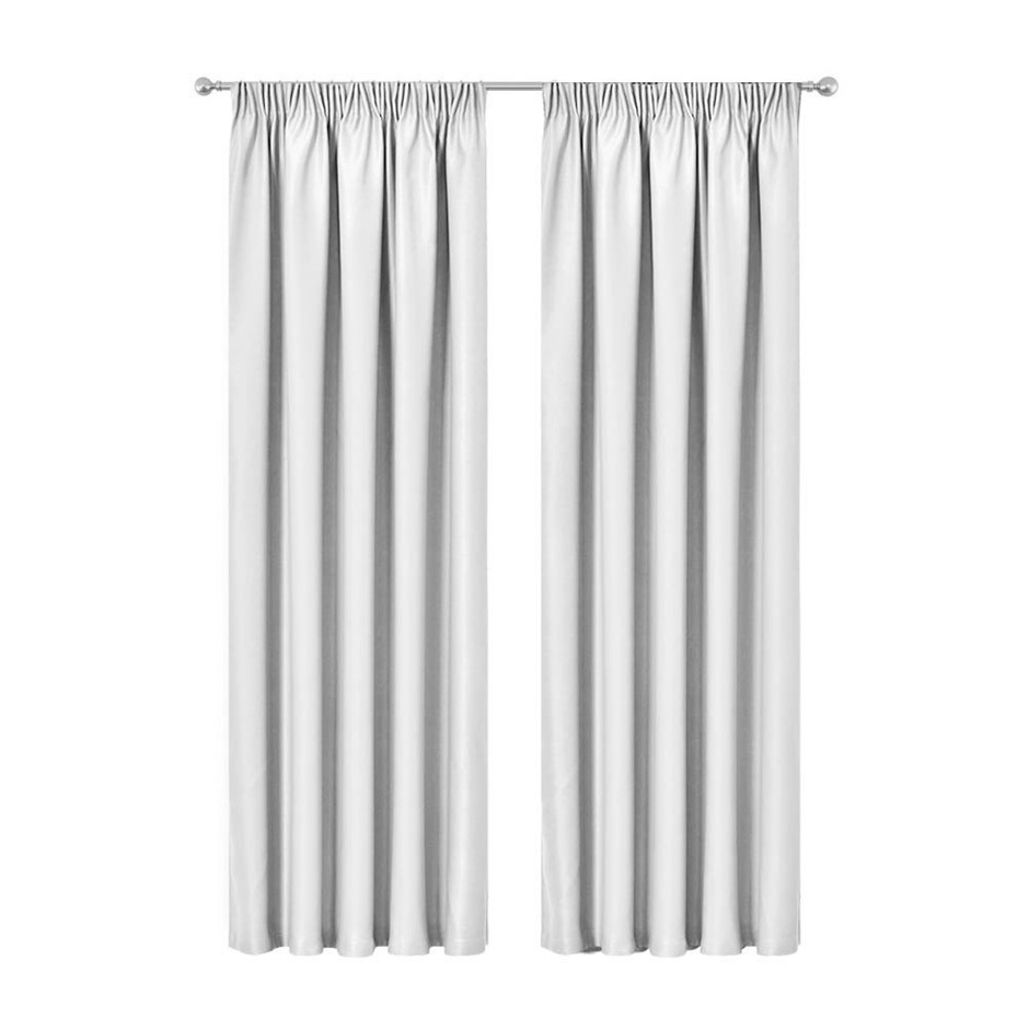 Artqueen 2x Pinch Pleat Blockout Curtains Darkening Drapes 240x213cm White