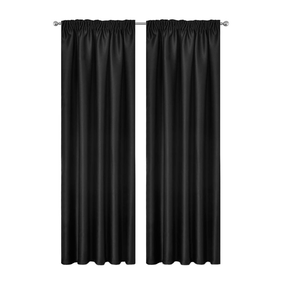 Artqueen 2x Pinch Pleat Blockout Curtains Blackout Darkening 180x230cm BK