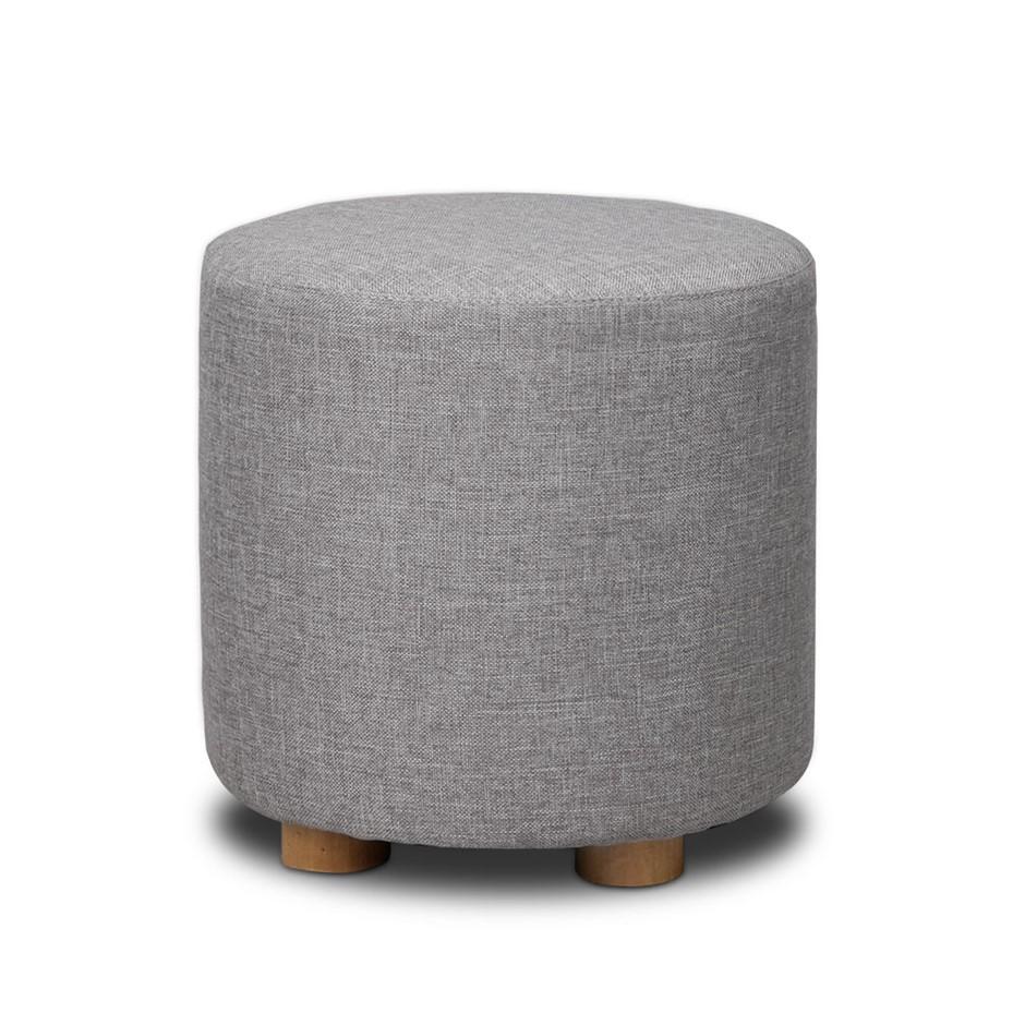 Artiss fabric round ottoman light grey
